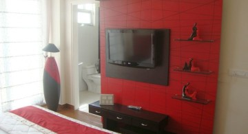 black and red bedroom ideas with floating shelf