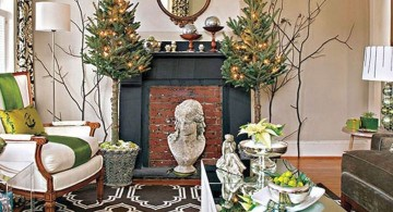 christmas room with branches and small trees