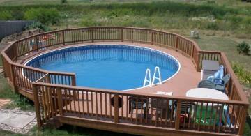 circular above ground wood pool deck