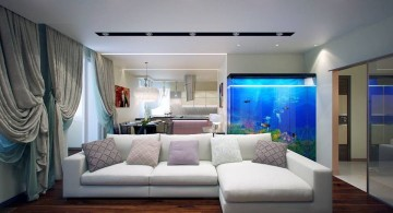 contemporary fish tank buil in the wall