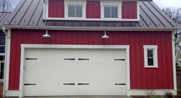 contemporary garage in red and white