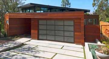 contemporary garage with white pathway