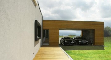contemporary garage wood tone