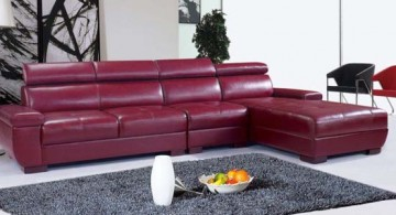 contemporary maroon living room furniture design L shaped sofa