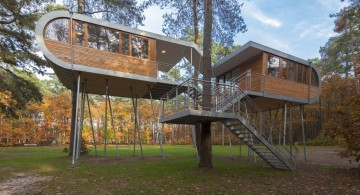 contemporary treehouse on stilts