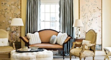eclectic rooms in beige and peach