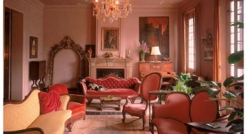 eclectic rooms with chandelier and terracotta tone