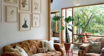 eclectic rooms with colorful sofa