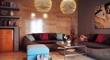 eclectic rooms with twin hanging lamps