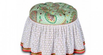 featured image of lovely skirted vanity stool with gorgeous DIY knitting