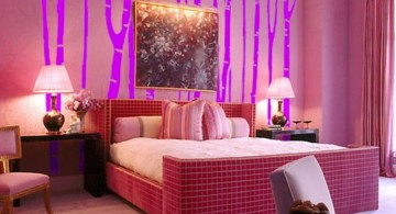 funky bedroom ideas with pink forest mural