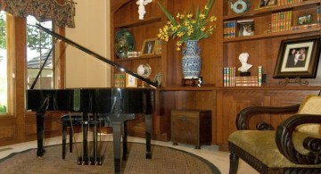 home music room with piano