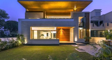 indian modern house front view at night
