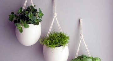 indoor wall hanging planter white porcelaine