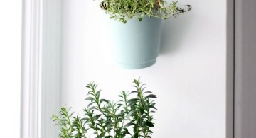 indoor wall hanging planter with old mugs