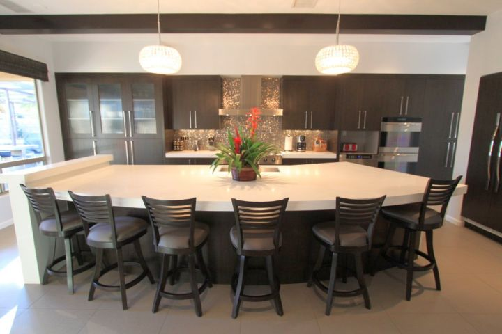 Wonderful kitchen island with seating for six half moon shaped IP59