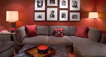 maroon living room for basement