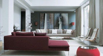 maroon living room settee