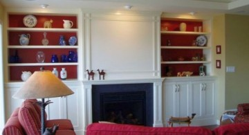 maroon living room with built in shelf