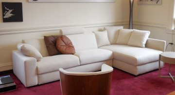 maroon living room with white sofa