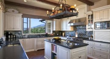 mediterranean kitchen designs with wrought iron hanging lamp
