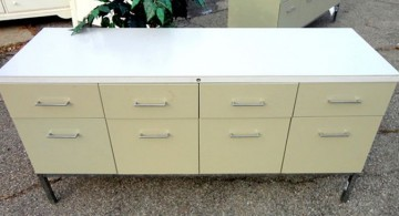 metal credenza with drawers in white