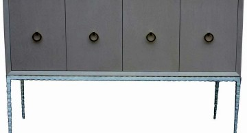metal credenza with four swing doors
