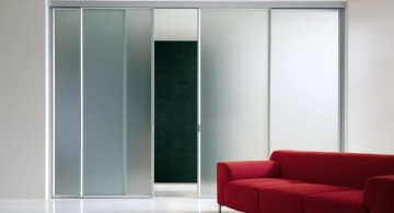 minimalist opaque modern glass door