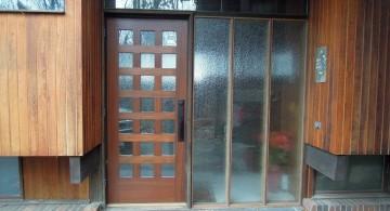 modern glass door with conventional door