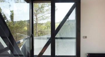 modern glass door with dark wood