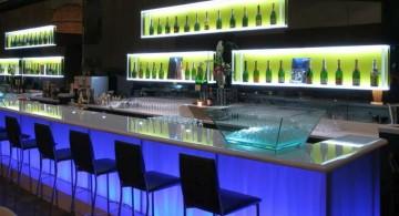 modern home bar design with blue light