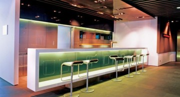 modern home bar design with green glow
