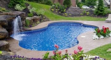 natural garden side pool waterfall ideas