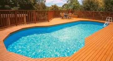 natural wood pool deck