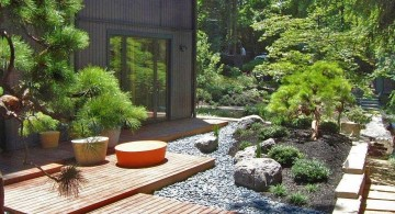 oriental garden design for side yard with wood pathway