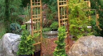 oriental garden design with bamboo pergola