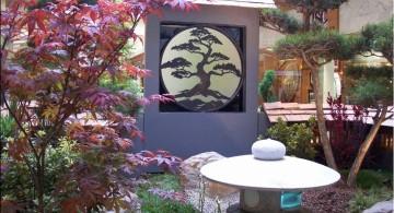 oriental garden design with oriental wall