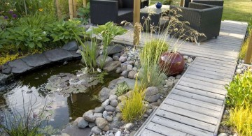 oriental garden design with pond and sitting area