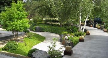 oriental garden design with wooden pathway