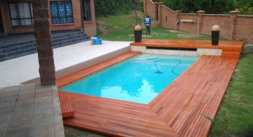 polished panel wood pool deck