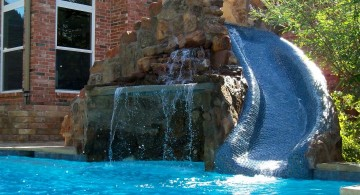 pool waterfall ideas with a slide