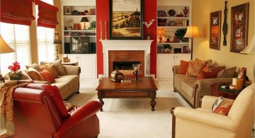 red wall accent with fireplace