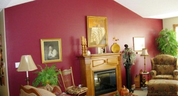 red wall accent with modern fireplace