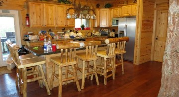 rustic kitchen island with seating for six