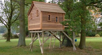 simple and small treehouse on stilts