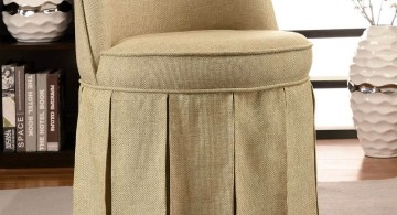 skirted vanity stool in taupe