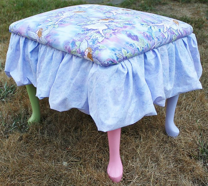 skirted vanity stool with colorful legs