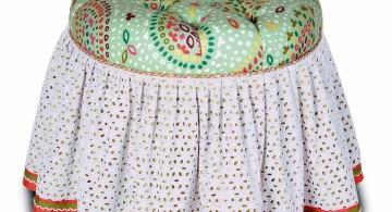 skirted vanity stool with knitting