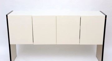 sleek and off white lacquer credenza
