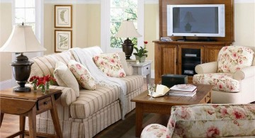 small living room ideas with flower upholstery